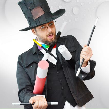 Kouzelník pro děti a hůlky